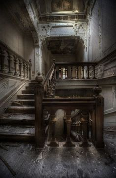 i love to see old abandoned buildings such as this. just imagine the events that could have occurred among these stairs. Abandoned Buildings, Abandoned Property, Abandoned Castles, Abandoned Mansions, Old Buildings, Abandoned Places, Abandoned Library, Spooky Places, Haunted Places