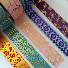 Bright foil washi tape: gold foil washi - purple gold - blue purple floral - red gold floral - blue gold crackle - 24 inch washi tape sample by WashiYouDoing on Etsy