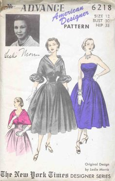 Advance Dress Pattern #6218, ca. 1950s ~ love those full skirts.