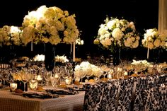 Black & White event design for a chic wedding at an urban hotel {Evantine Design, Eventions Productions, Photo: Phil Kramer}