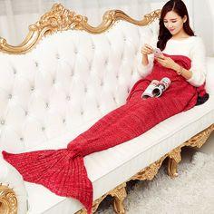 New Kids Women Yarn Knitted Mermaid Tail Blanket Blanket Throw Bed Wrap 90*50cm | eBay