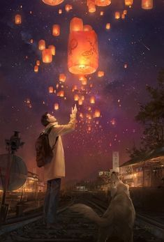 Find images and videos about anime and scenery on We Heart It - the app to get lost in what you love. Graffiti, Sky Lanterns, Fantasy Art Landscapes, Good Night Moon, Anime Scenery, Chinese Art, Wallpaper, Amazing Art, Cool Art