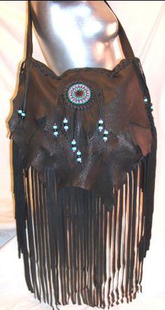 "Artisan Made Leather Beaded Renaissance Bag Hobo Bag Fringed Deerskin Purse  ""MEDIEVAL BEADS"" Handmade by Debbie Leather. $199.95, via Etsy."