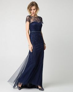 Embellished Lace Illusion Neck Gown - We love the striking illusion neckline of this fitted gown cut from elegant lace for a classic look.