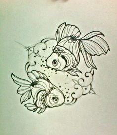 a neat line art goldfish tattoo design