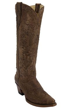 Corral® Women's Distressed Brown with Brown Eagle Overley Tall Top Snip Toe Cowboy Boots