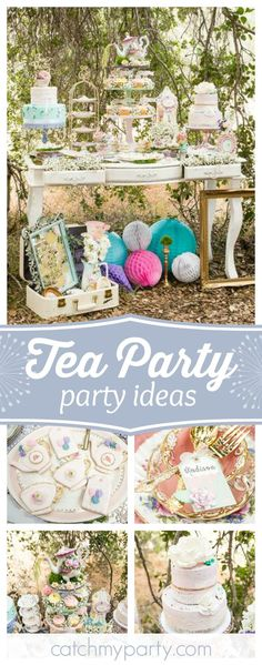 Take a look at this gorgeous Tea Party!! The garden settings and dessert table are incredible!! See more party ideas and share yours at CatchMyParty.com