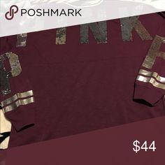 VS bling crew Hardly worn oversized PINK Victoria's Secret Sweaters Crew & Scoop Necks