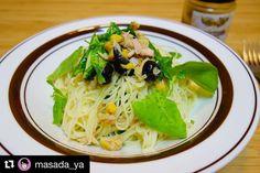 晩御飯はルッコラブラックオリーブツナのカッペリーニSWAN & LIONのトウモロコシレリッシュレモン風味のオリーブオイルバルサミコ酢で味付け #meallog #food #foodporn #tw