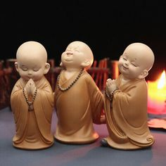 Buddhist Small Monk Statues Figurine Sculpture Ornament Handmade Car Home Decors Wall Ornaments, Handmade Ornaments, Handmade Decorations, Buddha Statue Home, Buddha Art, Baby Buddha, Little Buddha, Small Figurines, Miniature Figurines