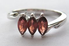 Marquis cut Red Garnet silver ring from Crimeajewel