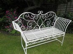 white metal bench - yahoo Image Search Results