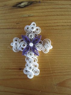 Special Order Quilled White Cross with Flower by GrandFinaleArt, $10.00