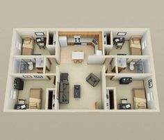 Check out a wide array of floor plans for four bedroom homes and apartments in this post. Also includes links to fifty 1 bedroom, 2 bedroom and 3 bedroom floor plans. 3d House Plans, House Layout Plans, House Blueprints, Dream House Plans, Modern House Plans, Small House Plans, House Layouts, 4 Bedroom House Designs, 4 Bedroom House Plans