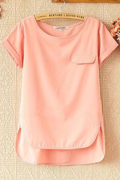 Item Type: TopsMaterial:ChiffonCollar:Round NeckSleeve Length:Short SleeveColor: Pink, YellowSize:M,L Blouse Styles, Blouse Designs, Look Fashion, Fashion Outfits, Womens Fashion, Casual Outfits, Cute Outfits, Sr1, Loose Shorts