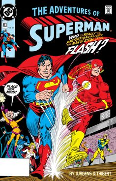 Images copyright DC COMICS S o, who's faster - SUPERMAN or The FLASH? In the Silver Age , they were presented as equals in t. You are in the right place about Comic Book store Here we offer you Rare Comic Books, Comic Books For Sale, Comic Book Covers, Comic Books Art, Comic Art, Book Art, Superman Comic Books, Superman Art, Superman Family