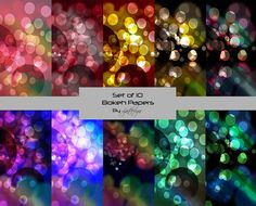 Bokeh Digital Papers, Scrapbooking Papers, Craft Supplies, Background, Backdrop, Abstract, Instant Download on Etsy, £1.83