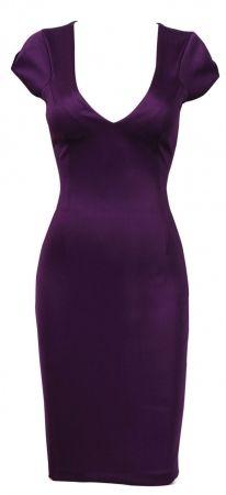 Clothing :: Dresses :: Pencil Dresses :: 'Dita' Dark Purple V Neck Pencil Galaxy Dress - Celeb Boutique - Celebrity Style At High Street Prices| Bodycon Dresses | Bandage Dresses | Party Dresses - StyleSays