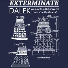 Dalek Blueprint Exterminate Doctor Who T-Shirt