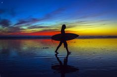 Surfer at Twilight in Oceanside, CA by Rich Cruse on 500px