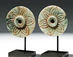 Lot: Mayan Jade Ear Flares - Floral Design (pr), Lot Number: 0082, Starting Bid: $1,300, Auctioneer: Artemis Gallery, Auction: Fine Antiquities | Asian | Ethnographic Art, Date: May 18th, 2017 CEST