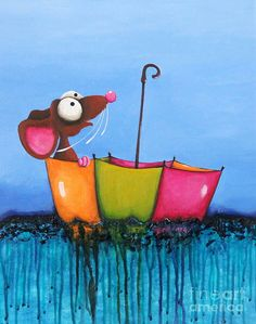 Mouse Painting - The Floating Umbrella by Lucia Stewart Painting For Kids, Diy Painting, Rock Painting, Wind Drawing, Farm Cartoon, Boat Illustration, Umbrella Art, Painted Chest, Thing 1