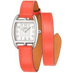 Hermes Cape Cod Tonneau Quartz Small PM 040012WW00 Watch (44.176.775 IDR) ❤ liked on Polyvore featuring jewelry, watches, silver, quartz wrist watch, orange watches, quartz jewelry, hermès and quartz watches