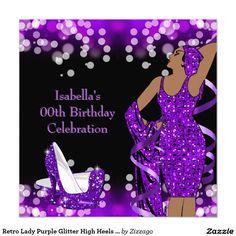 Retro Lady Purple Glitter High Heels Birthday Card Event Ideas 50th Party Invitations