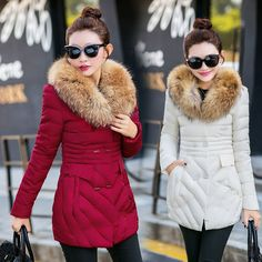 Women Winter long Cotton Padded Coat Parka Down Jacket Fur Collar Hooded Outwear #Unbranded #BasicCoat