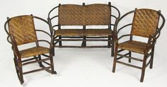 old hickory furniture set I have the two rockers -- covet the settee