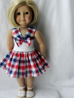American Girl Doll Dress - Red, Blue & White Checked Dress for 18 Inch Dolls Sewing Doll Clothes, American Doll Clothes, Girl Doll Clothes, Girl Dolls, Ag Dolls, Barbie Clothes, Dresses Kids Girl, Kids Outfits, Doll Outfits