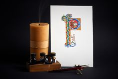 Calligraphy and letter illumination photography.
