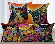 Multicolor Retro Pop Canvas Art Cat Cushion Cover  Price: 6.50 & FREE Shipping  #petlovers #pawprints #doglovergifts