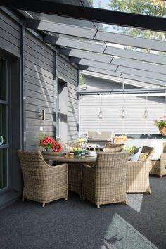 Kannustalo Harmaja Outdoor Furniture Sets, Outdoor Decor, New Homes, Patio, Home Decor, Ideas, Decoration Home, Room Decor, Home Interior Design