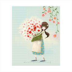 오늘 나의 마음이,꽃가득 How To Tie Shoes, Cute Illustration, Fashion Sketches, Cute Drawings, Cute Girls, Watercolor Paintings, Beautiful Pictures, Happy Birthday, Quilts