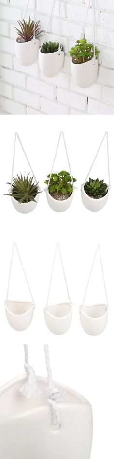 Baskets Pots and Window Boxes 20518: Set Of 3 White Ceramic Hanging Planters Home Office Garden Succulent Plant Pots -> BUY IT NOW ONLY: $35.2 on eBay!
