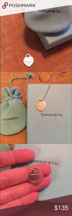 Tiffany & Co. Heart Necklace Hardly ever worn! Authentic. Price reduction due to minor tarnish! The pictures make all the small tarnish spots visible! Tiffany & Co. bag and box included! Tiffany & Co. Jewelry Necklaces