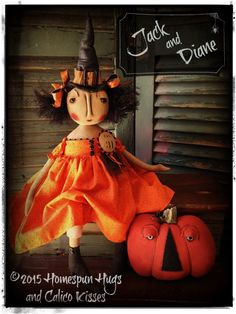 Halloween Witch and Jack-'o-Lantern by Homespun Hugs and Calico Kisses Primitives ❤︎ #homespunhugsandcalicokisses