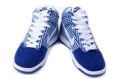 new styles 392cc fdbf6 Nike Dunk High Womens Sb Womens Skinny Navy Plaid Tablecloth White