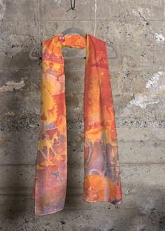 Cashmere Modal Scarf - Marbling Orange Red Stone by VIDA Original Artist Gold Scarf, Fashion Line, Cashmere Scarf, Wearable Art, Floral Tie, Surrealism, The Originals, Stone, Abstract