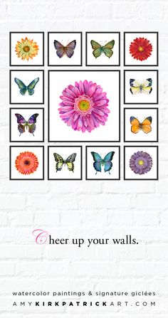 Looking to create an art arrangement on your wall? Look no further than Amy Kirkpatrick's series watercolor art for every room in your home. From butterflies to sea shells, dragonflies to hummingbirds and daisies, mixing up your wall art will take your interiors to the next level. Designed to mix and match, Amy Kirkpatrick watercolor series art will bring unexpected touches to your home that add instant style. Watercolor paintings and signed giclées by Amy Kirkpatrick • AmyKirkpatrickArt.com