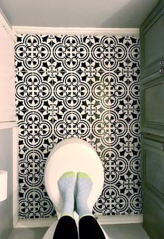 A DIY painted and stenciled ceramic tile floor using the Augusta Tile Stencil from Cutting Edge Stencils. http://www.cuttingedgestencils.com/augusta-tile-stencil-design-patchwork-tiles-stencils.html