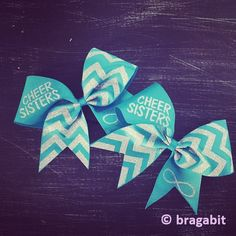 Cheer sisters cheer bows with turquoise ribbon and silver glitter design