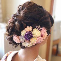 色打掛に合わせるゆるふわ和装ヘアカタログ   marry[マリー] Up Hairstyles, Wedding Hairstyles, Japanese Wedding, Hair Arrange, Japanese Landscape, Wedding Styles, Hair Styles, Beautiful, Instagram