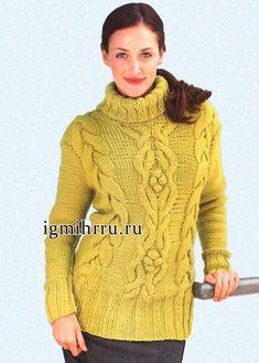 Желто-зеленый свитер из мериносовой шерсти, с узором из кос. Вязание спицами