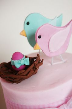Baby girl cake topper for a birdie baby shower! So cute