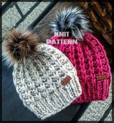 Knitting beanie pattern free 19 new ideas Chunky Hat Pattern, Beanie Pattern Free, Crochet Beanie, Knitted Hats, Crochet Hats, Knitting Patterns Free, Knit Patterns, Chunky Yarn, Chunky Knits