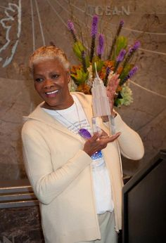 April 25, 2013: Legendary #Grammy Award-winning artist and humanitarian #DionneWarwick flipped our switch today to light the building in yellow to support #ProjectSunshine. Sports Illustrated model and Project  Sunshine volunteer #DamarisLewis also participated in this morning's ceremony. #NYC #EmpireStateBuilding