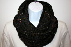 READY to SHIP CHARCOAL Tweed Infinity Scarf / Cowl, Ribbed Hand Crochet, Double Thread, Chunky, Other Colors Available