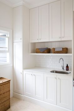 The laundry room is often an overlooked and overworked room in the home. It needs to be functional of course, but what about beautiful? Whether you have a small laundry closet or tiny laundry room,… Laundry Nook, Laundry Room Organization, Laundry Storage, Laundry In Bathroom, Laundry Cabinets, Small Laundry Sink, Cupboards, Laundry Room Sink Cabinet, Vacuum Storage